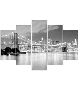 Schilderij , Brooklyn Bridge in Zwart wit ,4 maten , 5 luik , wanddecoratie , Premium print , XXL