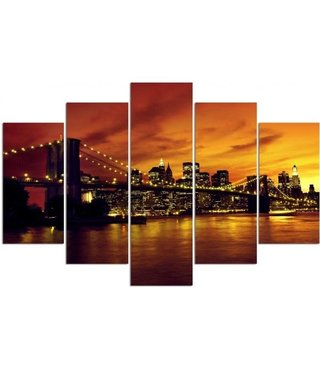 Schilderij , Brooklyn Bridge , Zwart oranje ,4 maten , 5 luik , wanddecoratie , Premium print , XXL