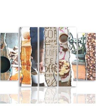Schilderij , Koffie , multikleur , 4 maten , 5 luik , wanddecoratie , Premium print , XXL