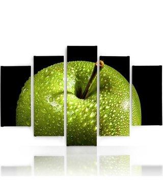 Schilderij , Groene Appel , Zwart groen , 4 maten , 5 luik , wanddecoratie , Premium print , XXL