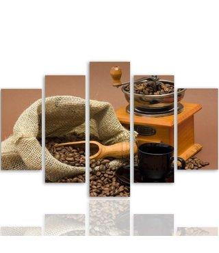 Schilderij , Koffiebonen en Koffiemolen , Beige bruin , 4 maten , 5 luik , wanddecoratie , Premium print , XXL