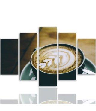 Schilderij , Barista koffie , Beige bruin , 4 maten , 5 luik , wanddecoratie , Premium print , XXL