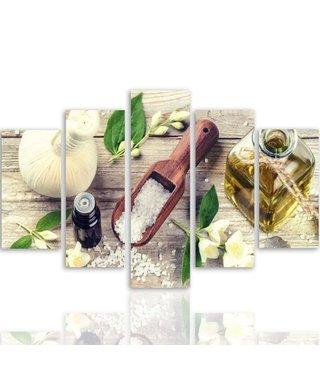 Schilderij , Bloemen en ingrediënten , Multikleur , 4 maten , 5 luik , wanddecoratie , Premium print , XXL