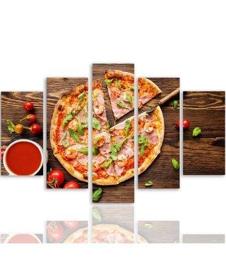 Schilderij , Pizza , Multikleur , 4 maten , 5 luik , wanddecoratie , Premium print , XXL