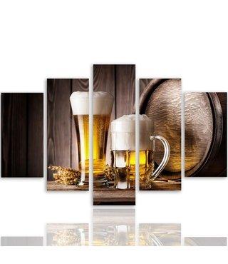 Schilderij , 2 Biertjes , Bruin beige , 4 maten , 5 luik , wanddecoratie , Premium print , XXL
