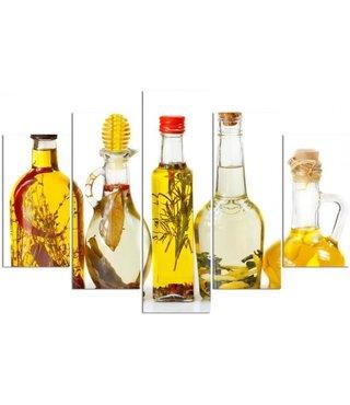 Schilderij , 5 flessen met Olie , multikleur , 4 maten , 5 luik , wanddecoratie , Premium print , XXL