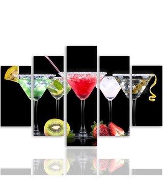 Schilderij , 5 Cocktails , multikleur , 4 maten , 5 luik , wanddecoratie , Premium print , XXL