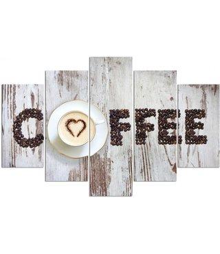 Schilderij , Koffie met liefde, Beige bruin , 4 maten , 5 luik , wanddecoratie , Premium print , XXL