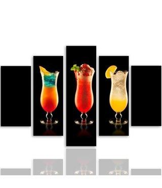 Schilderij , 3 Cocktails  , multikleur , 4 maten , 5 luik , wanddecoratie , Premium print , XXL