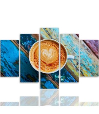 Schilderij , Kopje Koffie met liefde , multikleur , 4 maten , 5 luik , wanddecoratie , Premium print , XXL