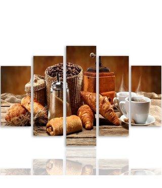 Schilderij , Frans ontbijt , multikleur , 4 maten , 5 luik , wanddecoratie , Premium print , XXL