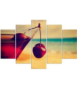 Schilderij , Cocktail met kersen op strand , multikleur , 4 maten , 5 luik , wanddecoratie , Premium print , XXL