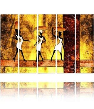 Schilderij , 3 afrikaanse vrouwen  II, multikleur , 4 maten , 5 luik , wanddecoratie , Premium print , XXL