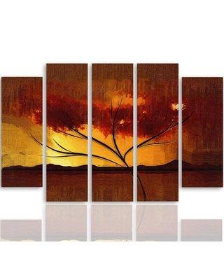 Schilderij , Boom bij zonsondergang , bruin oranje ,4 maten , 5 luik , wanddecoratie , Premium print , XXL