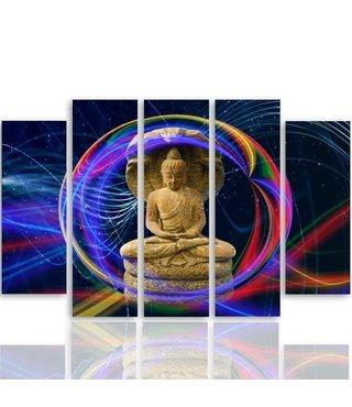 Schilderij , Boeddha in gekleurde bol , multikleur ,4 maten , 5 luik , wanddecoratie , Premium print , XXL