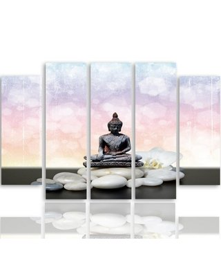 Schilderij , Boeddha op witte stenen , zwart wit roze ,4 maten , 5 luik , wanddecoratie , Premium print , XXL