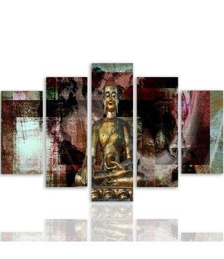 Schilderij , Boeddha voor abstracte vlakken , multikleur , 4 maten , 5 luik , wanddecoratie , Premium print , XXL