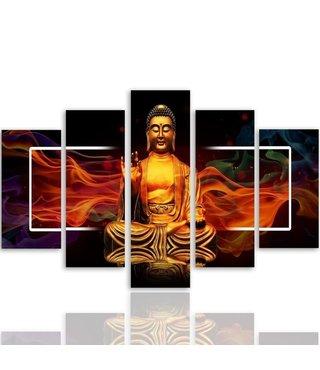 Schilderij , Boeddha in vlammen, Geel rood zwart , 4 maten , 5 luik , wanddecoratie , Premium print , XXL