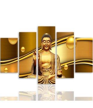 Schilderij , Boeddha in goud , Bruin geel , 4 maten , 5 luik , wanddecoratie , Premium print , XXL