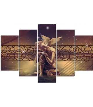Schilderij , Engel in gedachten , Beige bruin , 4 maten , 5 luik , wanddecoratie , Premium print , XXL