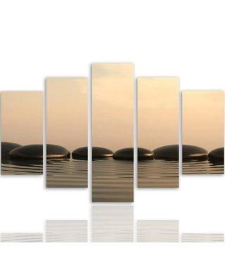 Schilderij , Zen stenen in ochtendmist , Grijs wit , 4 maten , 5 luik , wanddecoratie , Premium print , XXL