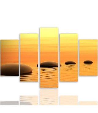 Schilderij , Zen stenen bij zonsopkomst, Bruin oranje , 4 maten , 5 luik , wanddecoratie , Premium print , XXL