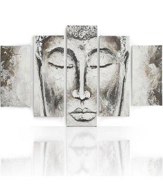 Schilderij , Gezicht van witte Boeddha , grijs wit , 4 maten , 5 luik , wanddecoratie , Premium print , XXL