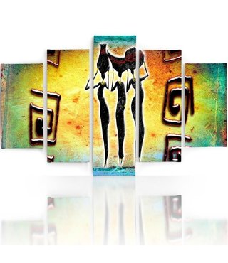 Schilderij , 3 Afrikaanse vrouwen , multikleur , 4 maten , 5 luik , wanddecoratie , Premium print , XXL