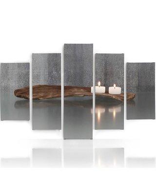 Schilderij , 2 kaarsen op een plank, Bruin wit grijs , 4 maten , 5 luik , wanddecoratie , Premium print , XXL