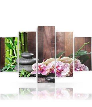 Schilderij , Orchideeën en zen stenen in bos ,roze groen bruin ,4 maten , 5 luik , wanddecoratie , Premium print , XXL