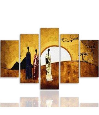 Schilderij , Zonsopkomst met 3 vrouwen , oranje geel ,4 maten , 5 luik , wanddecoratie , Premium print , XXL