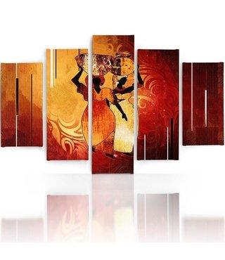 Schilderij , Afrikaanse vrouwen met potten , oranje geel rood ,4 maten , 5 luik , wanddecoratie , Premium print , XXL