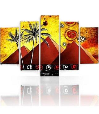 Schilderij , 3 Pyramides , Geel groen oranje ,4 maten , 5 luik , wanddecoratie , Premium print , XXL
