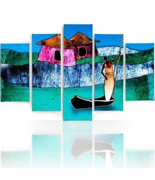 Schilderij , Vrouw in boot , multikleur ,4 maten , 5 luik , wanddecoratie , Premium print , XXL