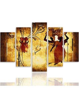 Schilderij , Kleurrijke Mensen met potten , multikleur ,4 maten , 5 luik , wanddecoratie , Premium print , XXL