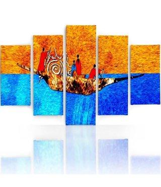 Schilderij , Kleurrijke Mensen in Boot , multikleur ,4 maten , 5 luik , wanddecoratie , Premium print , XXL