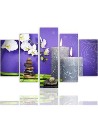 Schilderij , Orchidee  bij kaarsen voor paarse achtergrond , multikleur ,4 maten , 5 luik , wanddecoratie , Premium print , XXL