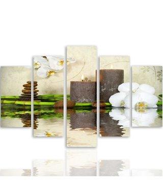 Schilderij , Orchidee  bij bruine kaarsen , wit bruin groen ,4 maten , 5 luik , wanddecoratie , Premium print , XXL