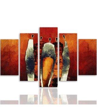 Schilderij , Grijze figuren op oranje achtergrond  ,4 maten , 5 luik , wanddecoratie , Premium print , XXL