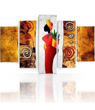 Schilderij , Kleurrijke vrouw met rode jurk , oranje wit rood ,4 maten , 5 luik , wanddecoratie , Premium print , XXL