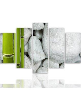Schilderij , Witte stenen met Bamboe, groen wit ,4 maten , 5 luik , wanddecoratie , Premium print , XXL