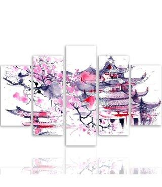 Schilderij , Japans huis , zwart wit roze ,4 maten , 5 luik , wanddecoratie , Premium print , XXL