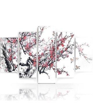 Schilderij , Bloeiende bomen , zwart wit roze ,4 maten , 5 luik , wanddecoratie , Premium print , XXL