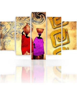 Schilderij , 2 Kleurrijke mensen, Rood paars beige ,4 maten , 5 luik , wanddecoratie , Premium print , XXL