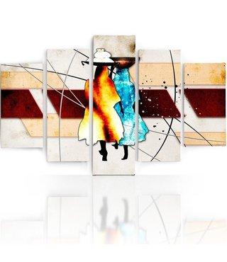 Schilderij , 2 Kleurrijke figuren, bruin blauw beige ,4 maten , 5 luik , wanddecoratie , Premium print , XXL