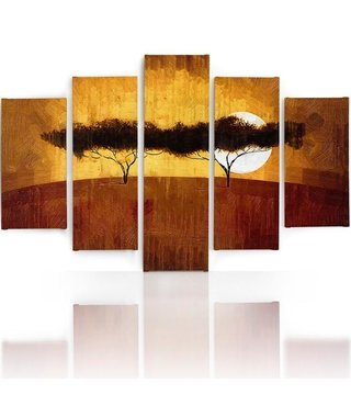 Schilderij , Zonsondergang in de woestijn,, oranje bruin ,4 maten , 5 luik , wanddecoratie , Premium print , XXL