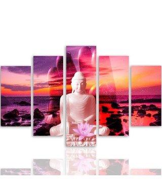 Schilderij , Boeddha in gekleurde zonsondergang , multikleur ,4 maten , 5 luik , wanddecoratie , Premium print , XXL