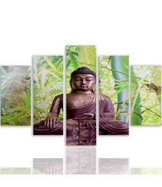 Schilderij , Boeddha in bos , bruin groen ,4 maten , 5 luik , wanddecoratie , Premium print , XXL