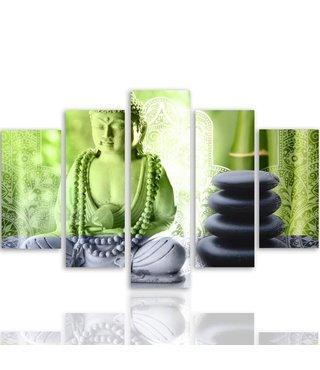 Schilderij , Groene Boeddha met grijze  stenen , groen grijs ,4 maten , 5 luik , wanddecoratie , Premium print , XXL