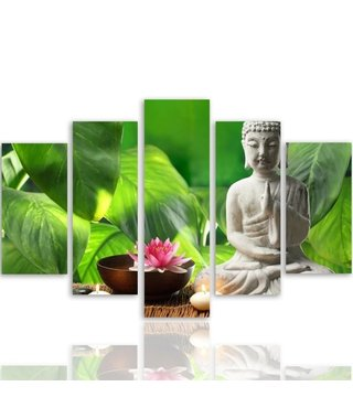 Schilderij , Boeddha tussen groene bladeren , wit groen  ,4 maten , 5 luik , wanddecoratie , Premium print , XXL
